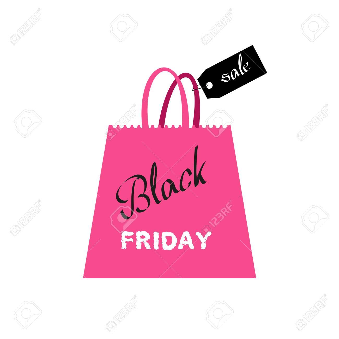 Black friday shopping bag on white background Vector illustration..