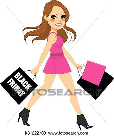 Woman Black Friday Shopping Clip Art.