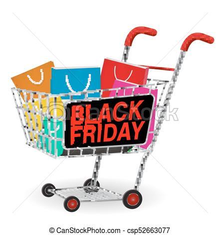 black friday shopping paper bag on cart.