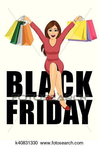 Woman with shopping bags sitting big black friday text Clipart.