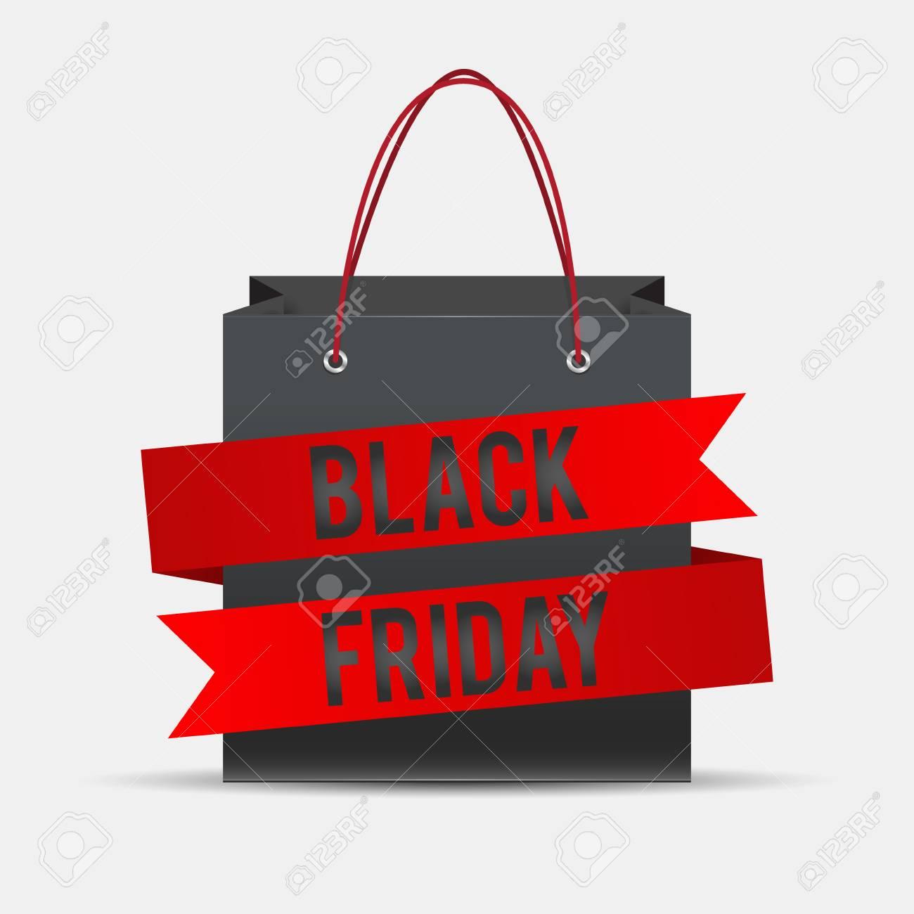 Black Friday shopping bag, pack ribbon Vector illustration..