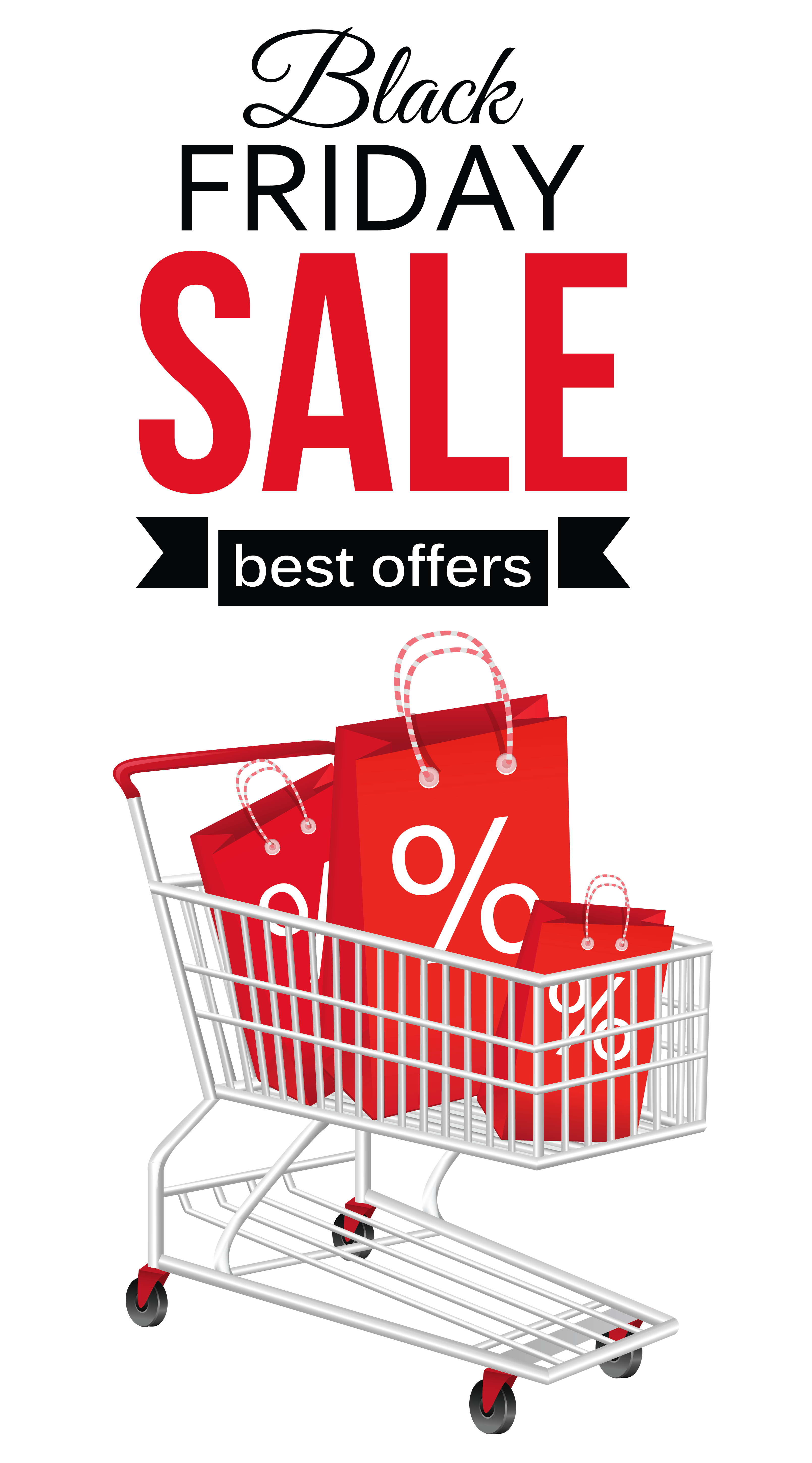 Black Friday Sale with Shopping Cart Clipart PNG Picture.