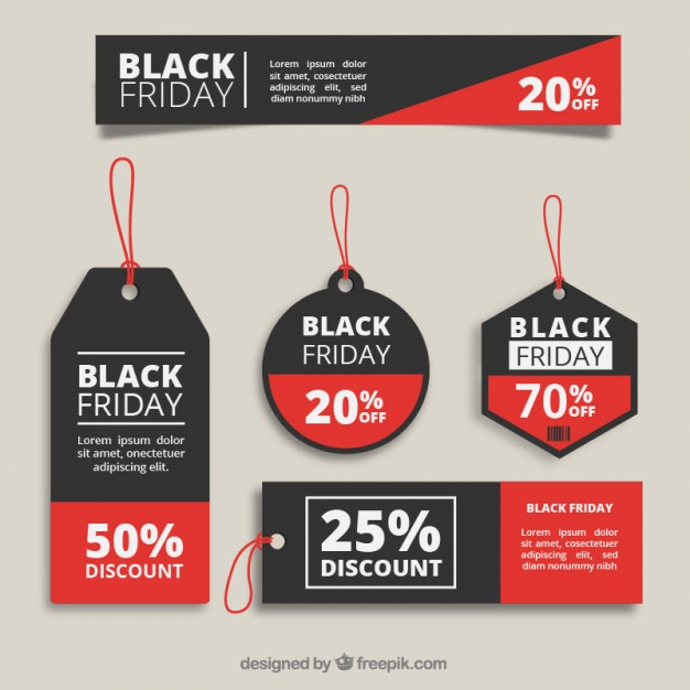 Black friday tags collection Vector.