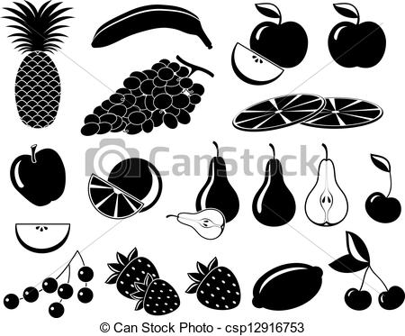 Clipart Vector of Set icons of fruit in black and white.