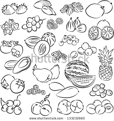 Mix fruits clipart black and white.