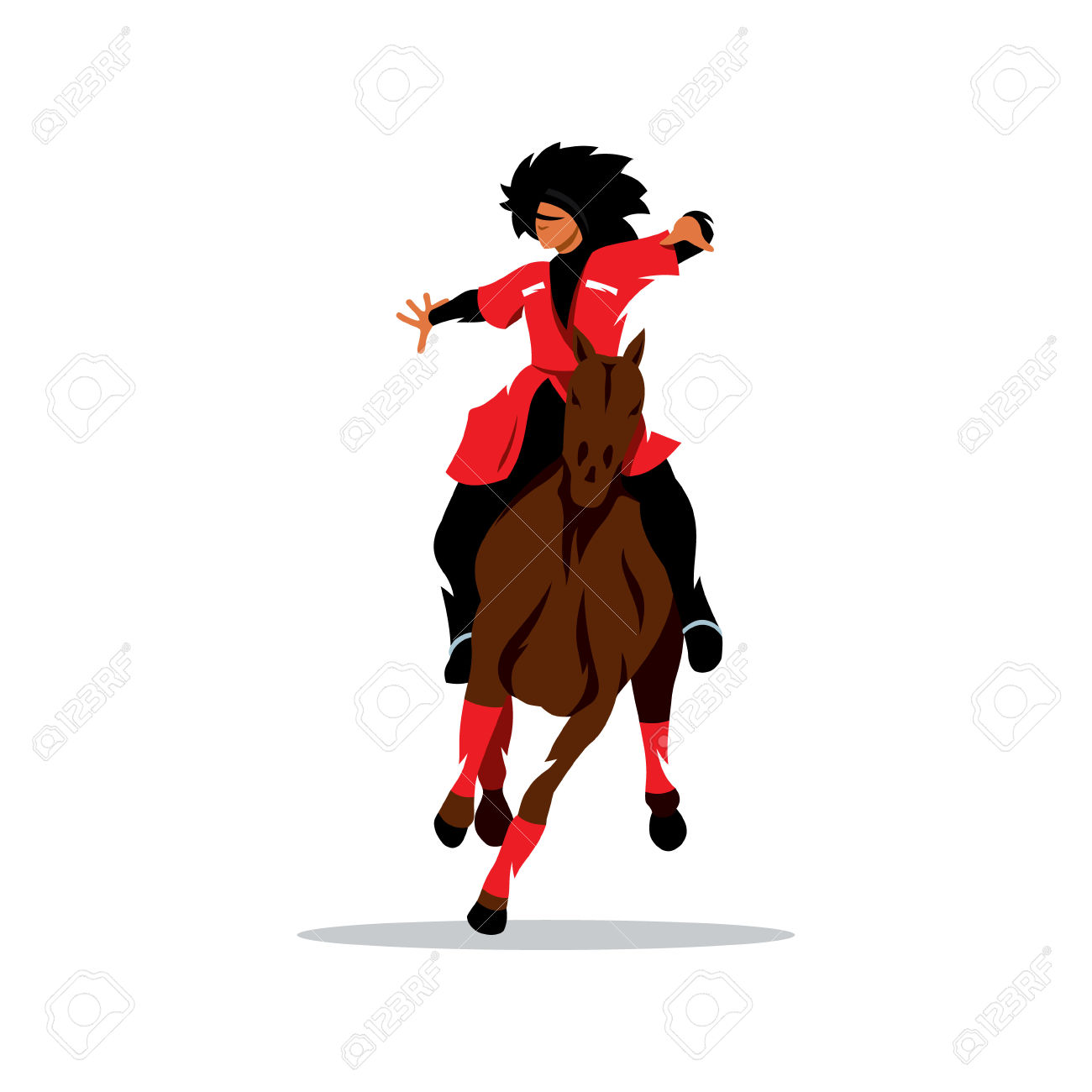 Man In Black Fur Hat And A Red Dress On A Horse Waving His Arms.