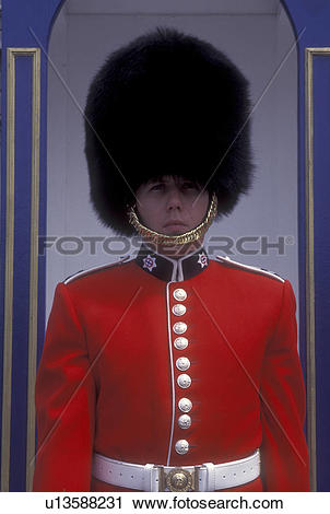 Stock Photography of Canada, Ontario, Ottawa, A sentry wearing a.