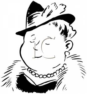 Woman In Fur Coat Clipart.