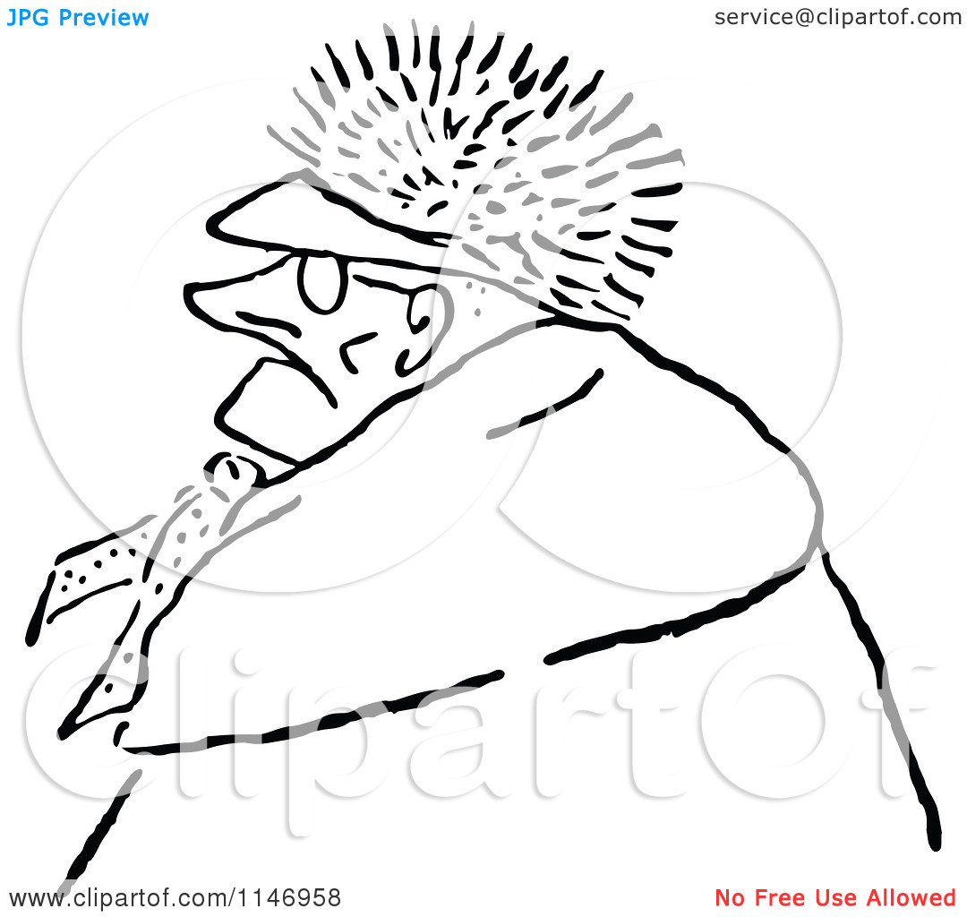 Clipart of a Retro Vintage Black and White Old Man Wearing a Fur.