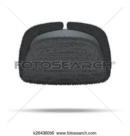 Stock Illustration of Russian black winter fur hat ushanka.