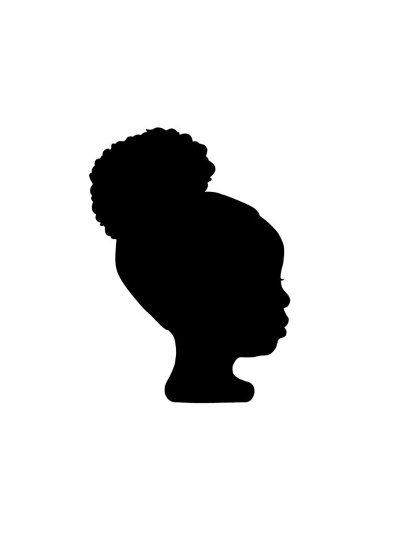 Little Black Girl With Afro Puffs Silhouette.