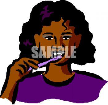 Woman Brushing Teeth Clipart.