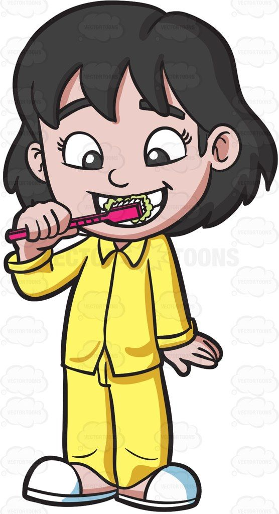 An adorable girl brushing her teeth before bedtime #cartoon.