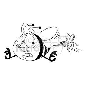 bob the bee being chased by mosquito black white clipart. Royalty.