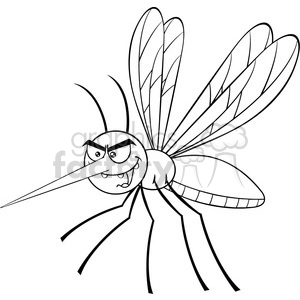 royalty free rf clipart illustration black and white mosquito cartoon  character flying vector illustration isolated on white . Royalty.