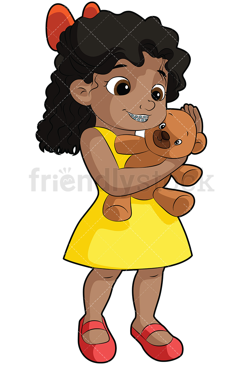 Black Girl With Braces Hugging Teddy Bear.