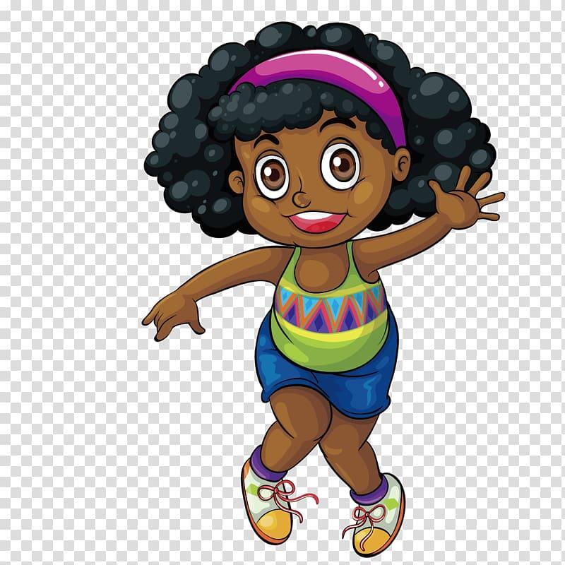 Black Drawing Girl , Cute black girl transparent background PNG.