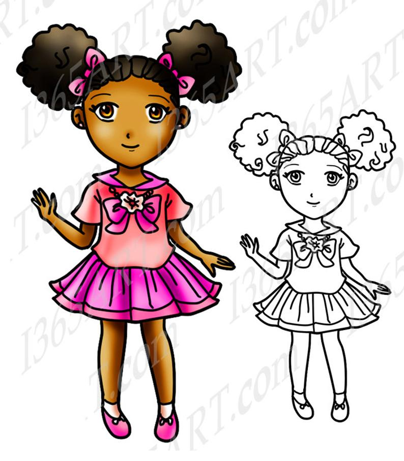 50% OFF African American girl clipart, black girl, Afro Puffs, Digital  Stamp, clip art, Coloring Page, Manga, Cute School Girl, Anime Chibi.