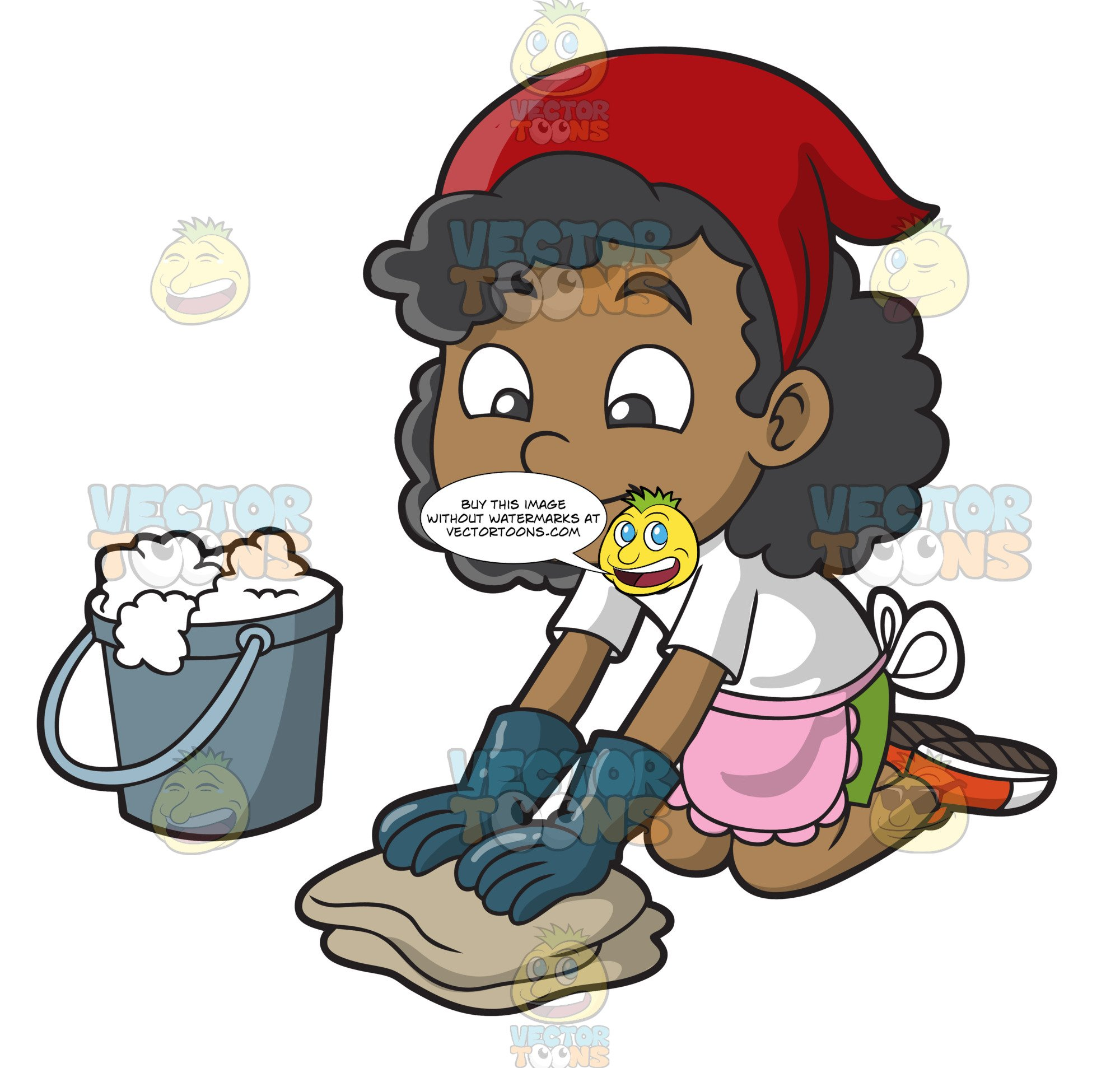 A Black Girl Scrubbing The Floor.
