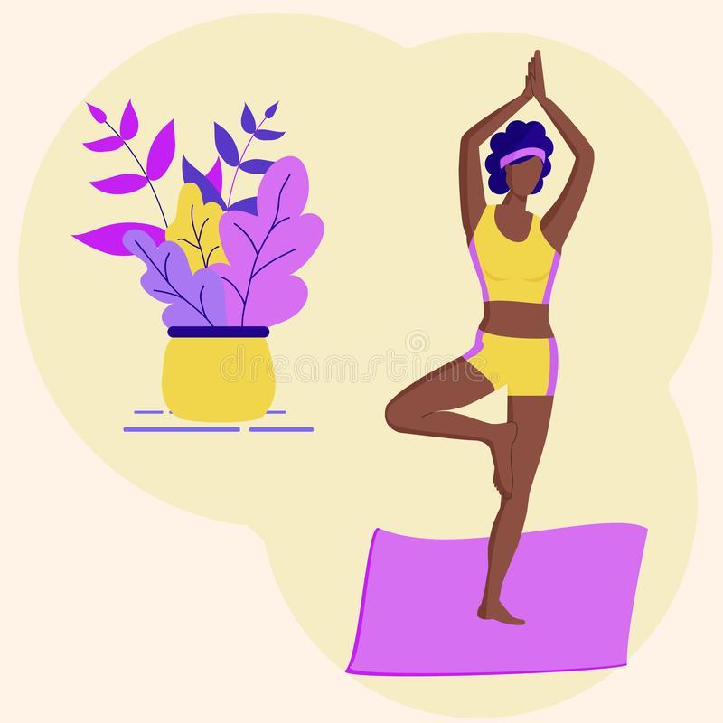 Black Girl Yoga Stock Illustrations.