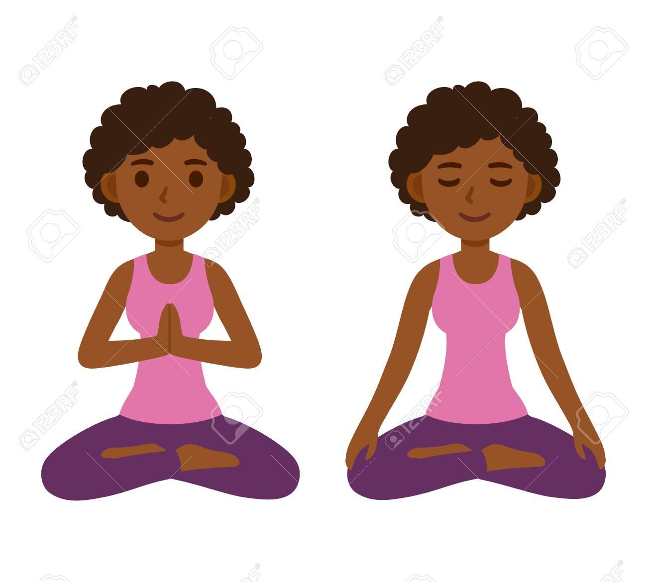 Cute cartoon black girl doing yoga and meditating in lotus pose.