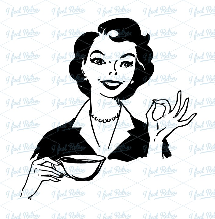 Woman Drinking Coffee Clipart.
