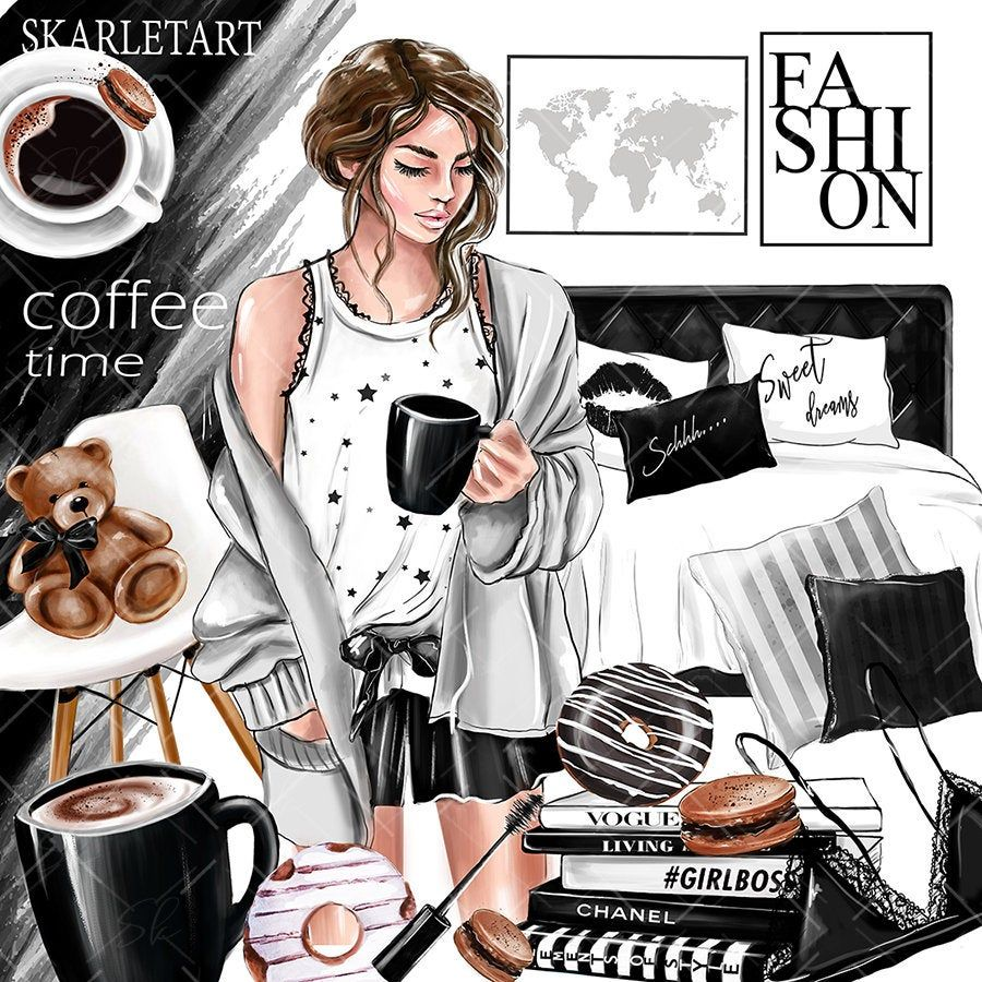 Coffee Clipart Girl Boss Fashion Clipart Monday Coffee.