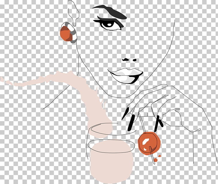 Juice Drinking Illustration, painted girl drinking juice PNG.