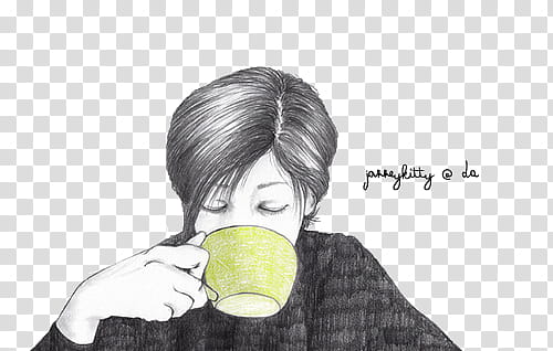 illustration of woman drinking from a cup transparent.