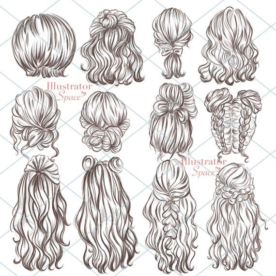 Hairstyles clipart hair set DIGITAL DOWNLOAD Custom.