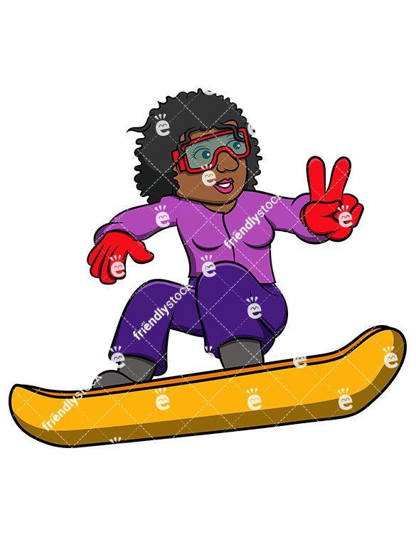 Black Female Snowboarder On Trail.