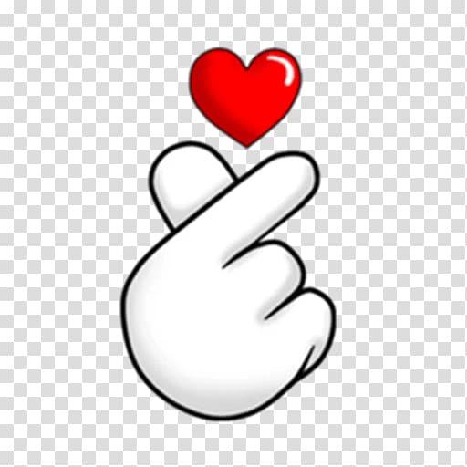 Heart hand sign illustration, Sticker PicsArt Studio.