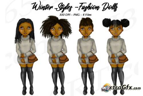 Natural Hair Black Girls Clipart, Winter Sweaters Fashion.