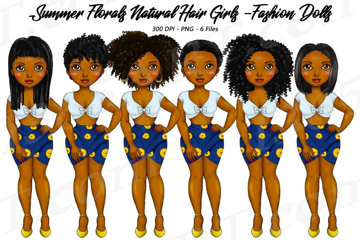 Summer Florals Natural Hair Clipart Girl, Black Girl Dolls.