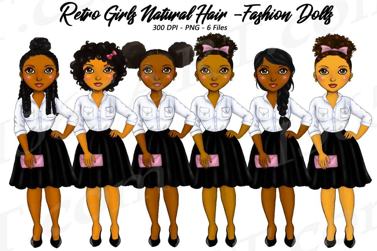 Retro Girls Clipart, Black Girls, Natural Hair, Fashion.