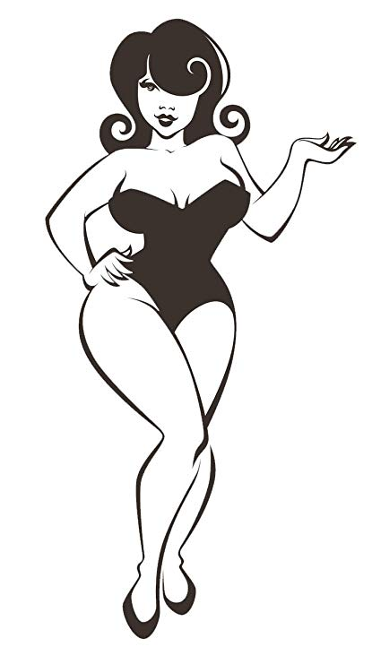 Black and White Voluptuous Pin Up Girl Vinyl Decal Sticker (4\