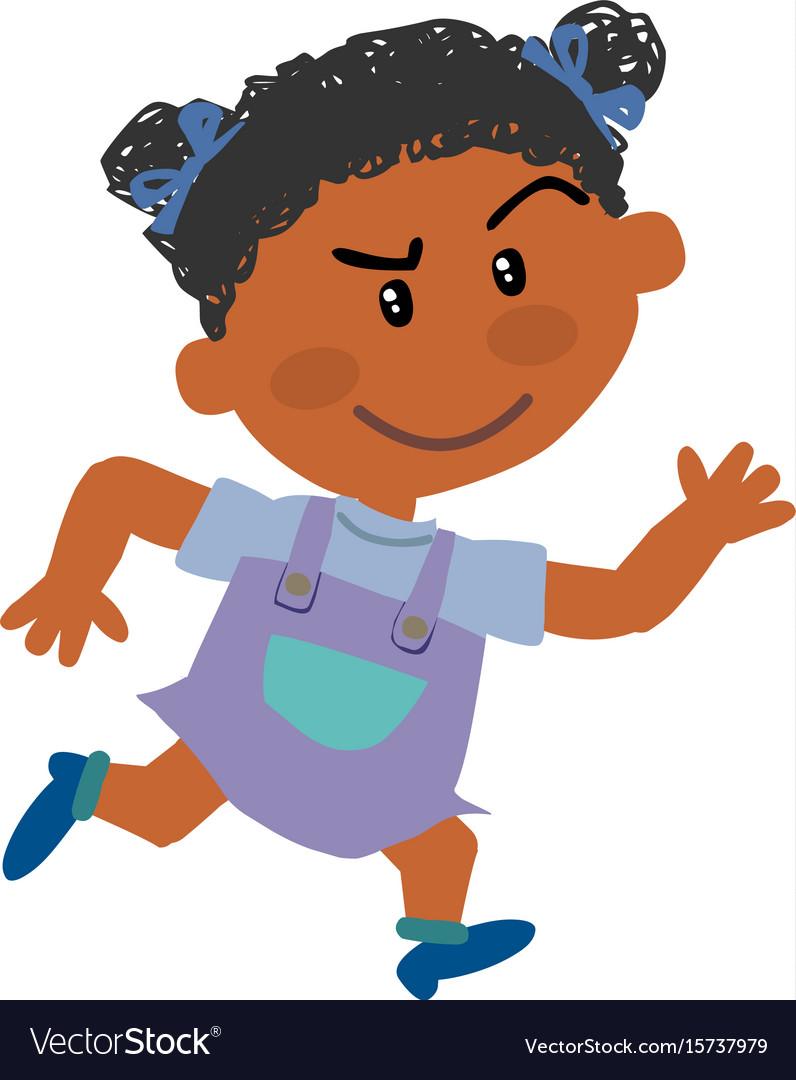 Cartoon character black girl running.