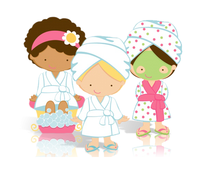 Library of ladies being pampered in a spa svg black and.