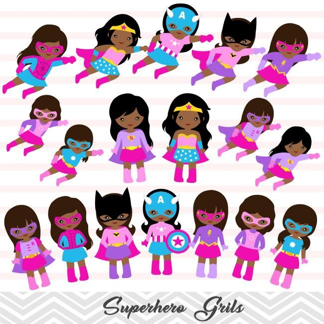 27 African American Superhero Girls Digital Clip Art, Little.