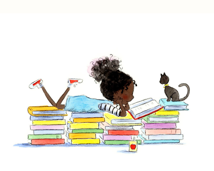Black Girl Reading Clipart.