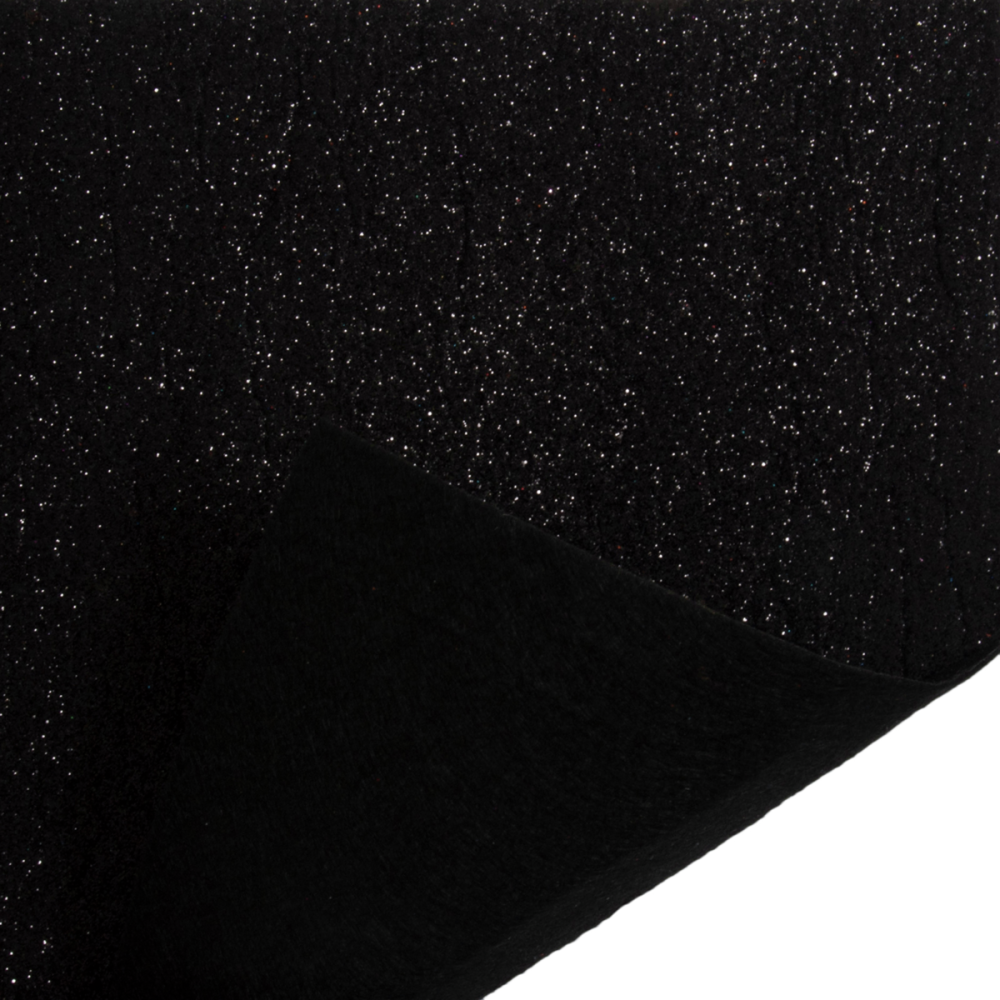 Black Glitter covered felt fabric in sheets.