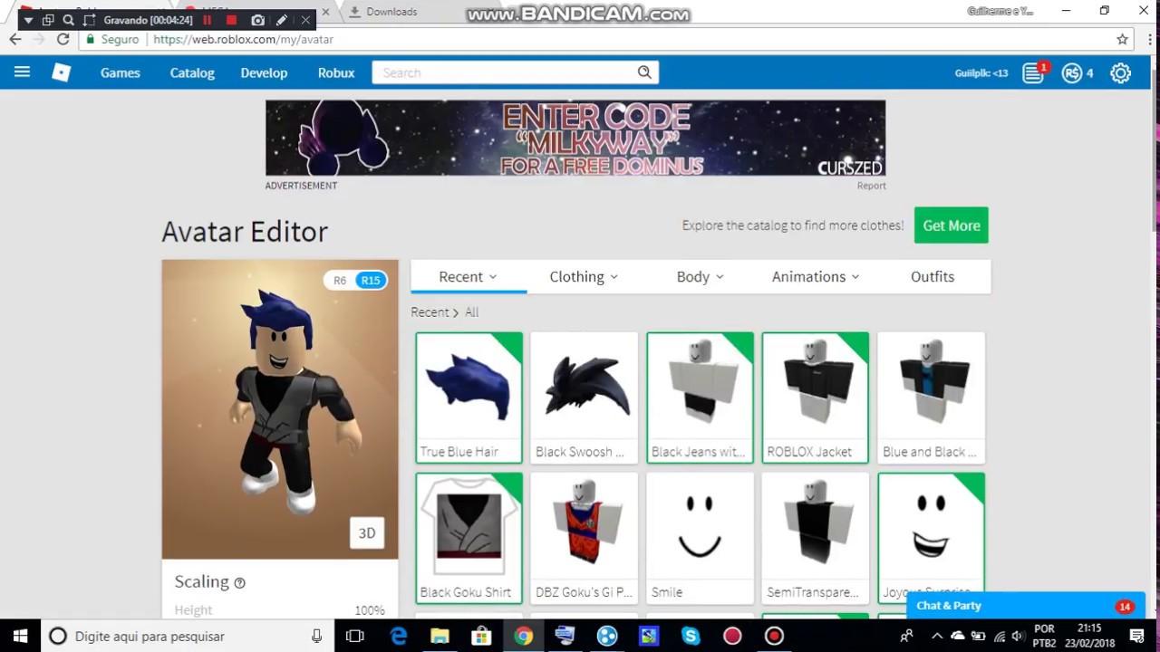 Como fazer a roupa do goku black no roblox sem robux!!!.
