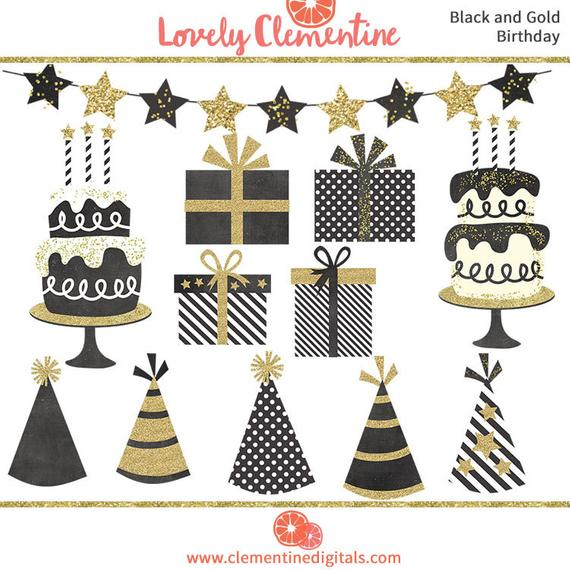 Black and gold birthday clip art images, cake clip art, party clip art,  instant download.