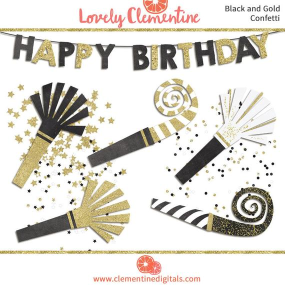 Black and gold birthday clip art images, confetti clip art.