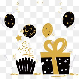 Black Gold Color Birthday Party, Color Clipart, Birthday.