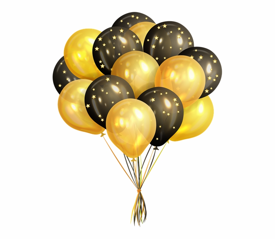 Balloons Confetti Celebration Birthday Fun Black And Gold.