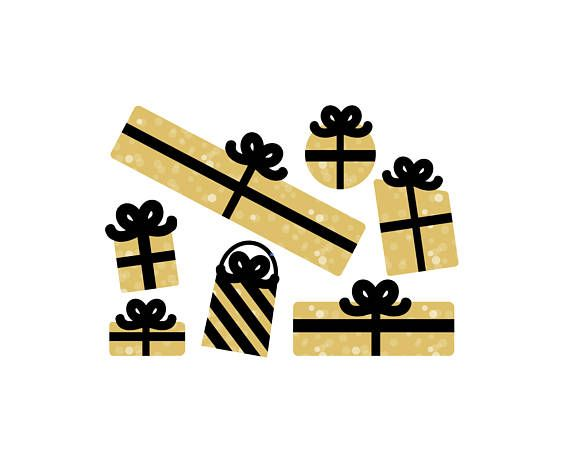 BLACK and GOLD PRESENTS Clipart.