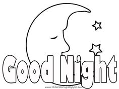 Good night clipart black and white.
