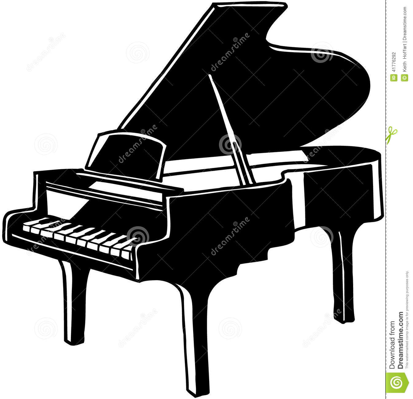 Grand Piano Musical Instrument Vector Clipart Stock Vector.