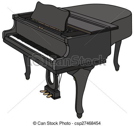 Clipart Vector of Black grand piano.